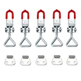 AUTOUTLET 5PCS Toggle Catch Latch Adjustable Cabinet Boxes Case Chest Catch Metal Toggle Clamp Latch Hasp Heavy Duty 100KG/220lbs Holding Capacity, S Size