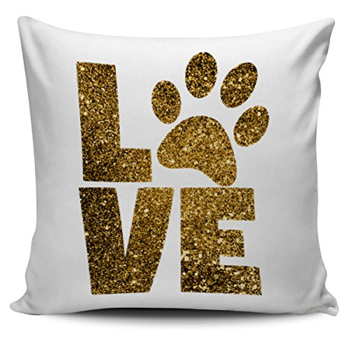 Pet Rats In Costumes (Gold Bling Pawprint Love White Sofa Throw Pillow Cover)