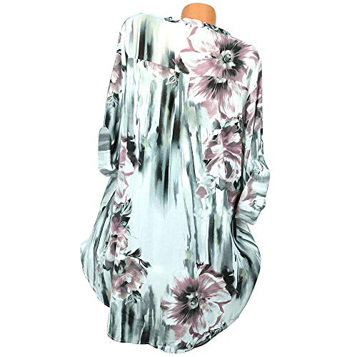 Lolittas Shirt Femmes Manches Shirt Imprimer Chemisier White Button V Longues T Tops Plus Neck Size rrCxaq4g