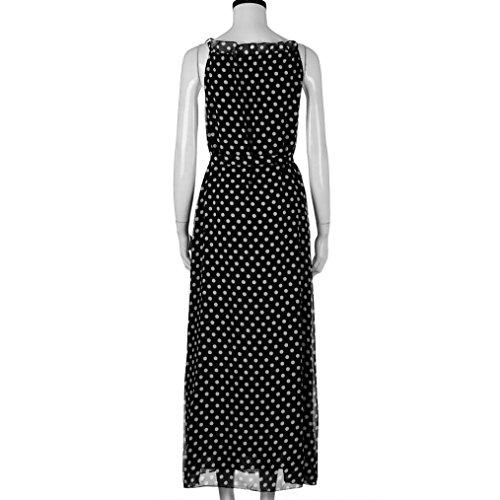 Hot Women Dress! AMA(TM) Women Summer Sleeveless Polka Dots Boho Dress Maxi Long Evening Party Dress Beach Sundress (M, Black) by AMA(TM) (Image #4)