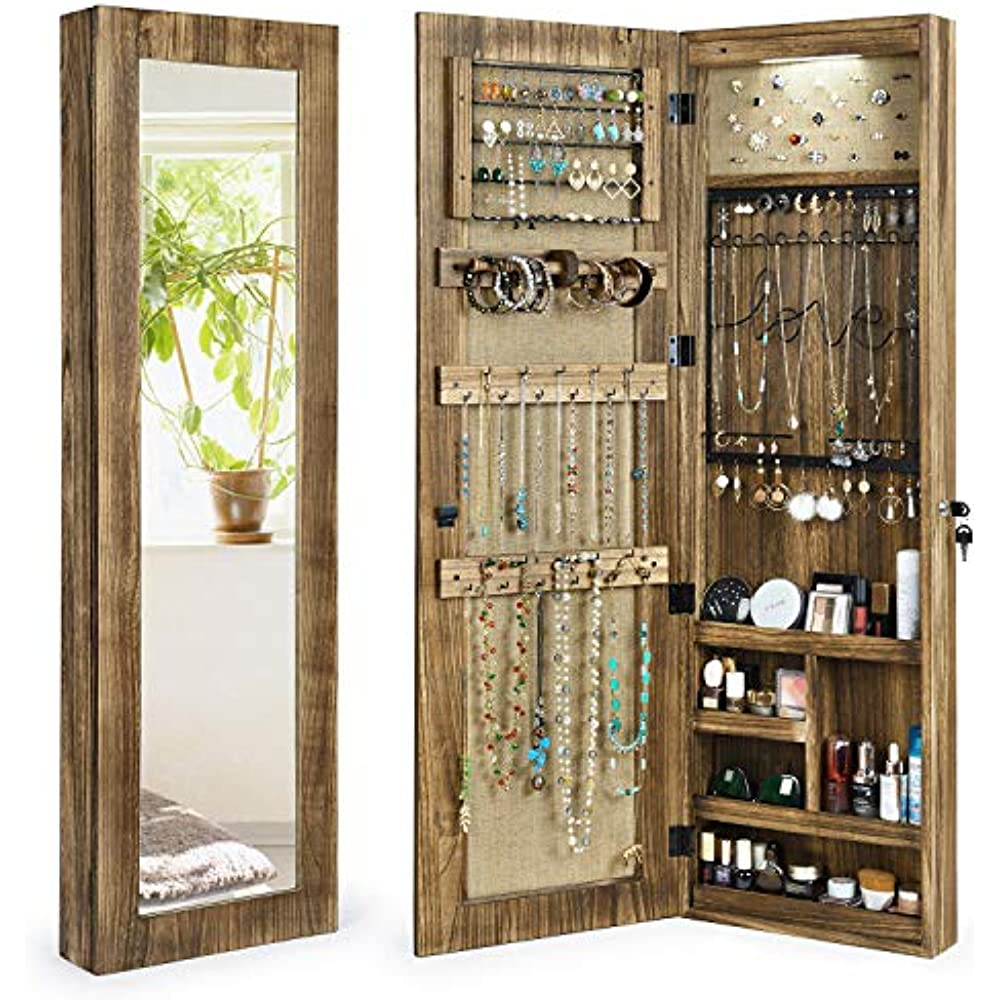 - Jewelry Armoire Cabinet, Solid Wood Organizer Full ...