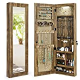 SRIWATANA Mirrored Jewelry Cabinet Armoire, Lockable Solid Wood Jewelry Organizer Wall/Door Mounted(Carbonized Black)