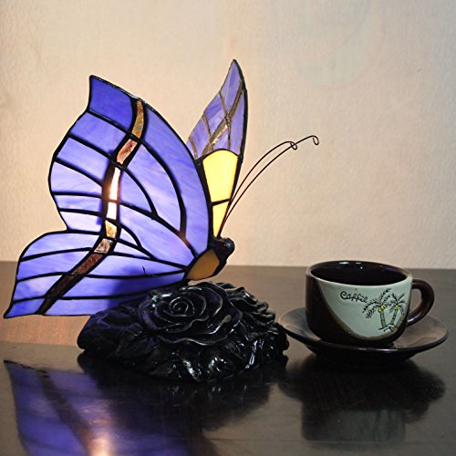 (Tiffany Style Pastoral Creative Butterfly Table Lamp Children's Lamp Night Light - 20 cm)