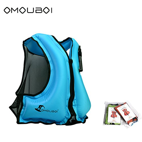 SOF00002-L-BU Snnorkel Vest Adult Inflatable Swim Vest Life Jacket For Snorkeling,Suitable For 80-220lbs