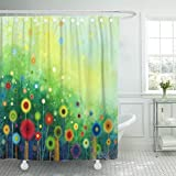 Bright Pink Shower Curtain Emvency Fabric Shower Curtain Curtains with Hooks Abstract Floral Watercolor Painting Hand Yellow and Red Flowers in Color on Green The Meadows Spring Seasonal 72