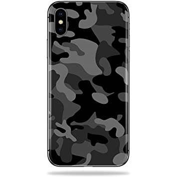detailed look 61d42 3dd90 MightySkins Skin for Apple iPhone X - Black Camo | Protective, Durable, and  Unique Vinyl Decal...