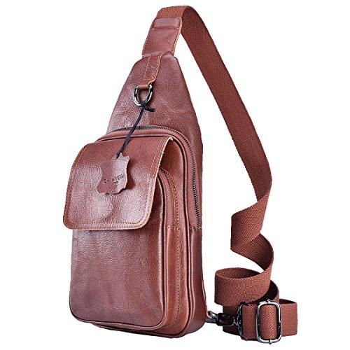 DelleVEGA Genuine Leather Sling Chest Bag Shoulder Crossbody Backpack for Men