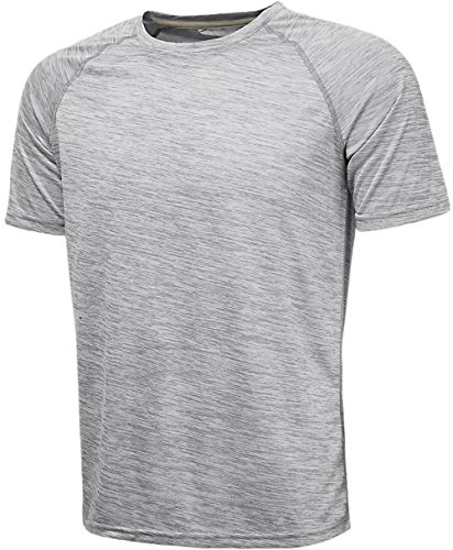 KomPrexx Sport T-Shirts for Men - Quick Dry Wicking - Running Tops Training Tee Short Sleeve Sportswear(PurpleWhite,M)