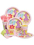 Hugs & Stitches Girl 1st Birthday Party Standard Kit Serves 8 Guests