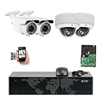 5MP (2592x1920p) 8 Channel 1920P NVR Network PoE IP Security Camera System - HD 1920p 2.8~12mm Varifocal Zoom (2) Bullet and (2) Dome IP Camera - 5 Megapixel (3,000,000 more pixels than 1080P)