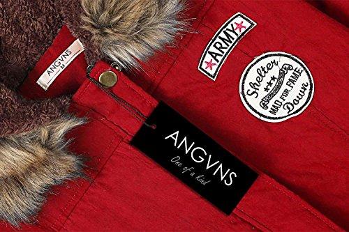 Capuche Rouge Fourrure avec Epaissir Hiver Femmes ANGVNS Manteau Compressible Chaude wHzx0q