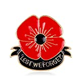 Remembrance Day Memorial Day Gift Poppy Brooch Pins Lest We Forget Enamel Golden Flower Badge Broach