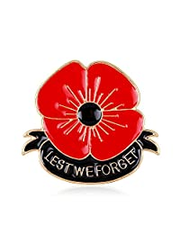 Lest We Forget Enamel Poppy Brooch Pin Badge Golden Flower Remembrance Day Gift