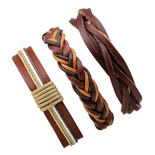 d2aae963ba67 El servicio durable FGSJEJ Pulseras de cuero de hombres y mujeres Pulsera  de cuero trenzada de