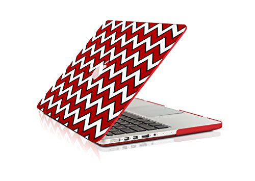 """TopCase Chevron Series Ultra Slim Light Weight Rubberized Hard Case Cover for Apple MacBook Pro 13.3"""" with Retina Display Model: A1425 and A1502 (Release 2013) - Black Outline Red"""