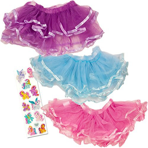 Tutus for Girls (Set of 3 — Dress Up Tutu Costumes — Pink, Purple and Blue)