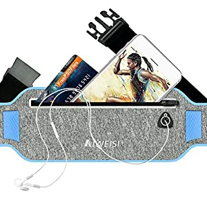 AIWEISI Running Waist Pack, Lightweight Sweatproof Sport Belt Bag Fits for iPhone 6 6s Plus iPhone7 Galaxy S5 S7 Honor 8 Studio X8 for Men Women with Hidden Pouch (Blue)