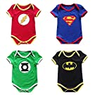 4PCS Onesies Baby Boys Batman Super Hero Romper Playsuit Cosplay Party Clothes (0-3 months)