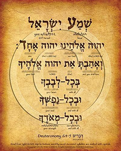 Amazon Com The Shema Prayer Hebrew Poster Deuteronomy 6 4 5 8 X10 V 1 Print Posters Prints