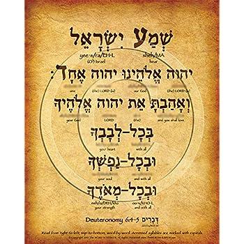 The Shema Prayer Hebrew Poster V.1 (8