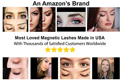 Luxillia 5D Magnetic Eyelashes ith Eyeliner Kit Free Tweezers and Brush – Magnetic Lashes Set with Most Natural Look…