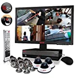 "Revo Remote Home Security Monitoring Surveillance Video Recording Camera System 16Ch 2TB DVR 8 CCTV Cameras Cables & 21.5"" Monitor – R164D3EB5EM21-2T"
