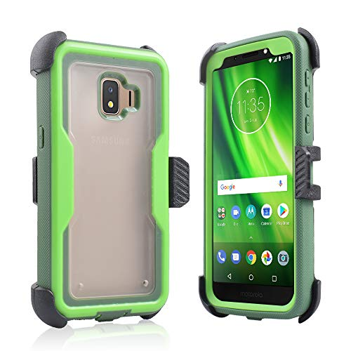 erfirst for Samsung Galaxy J2 Core SMJ260/J2 Dash/ J2 Pure Full Body Rugged Holster Explorer Tough Armor Clear Frost Cover with Swivel Belt Clip & Built in Screen Protector (Green) ()