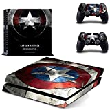 marvel skin decal - MightyStickers® PS4 Console Designer Protective Vinyl Decal Covers for Sony PlayStation 4 and Controller Skins Stickers - Marvel Comics The Avengers 2 Movie Super Titan Heroes Age of Ultron Captain America Shield