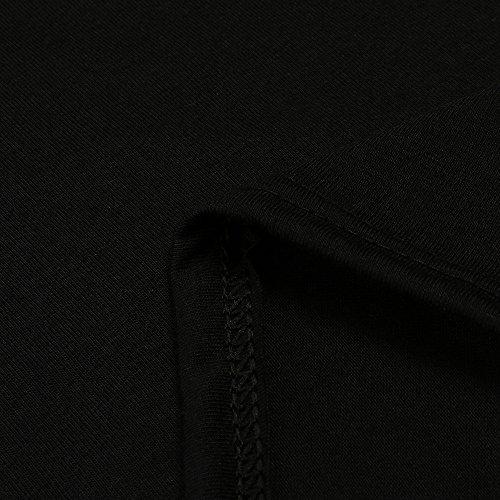 Primavera Tops Weant Spalla Lunga Maglietta Estate Camicie Donne Elegante Camicetta Nero Girocollo Donna Corta Blusa Nuda X Casual Cavo Cime T shirt Perline Sciolto Manica RqzwTRr