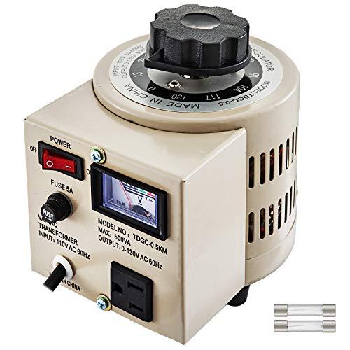 Mophorn 110V AC 60Hz Variable Transformer 500VA Power Supply Voltage Transformer Converter 0-130V Output Grey