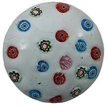 Art Glass Paperweight Handmade Millefiori Style White Background