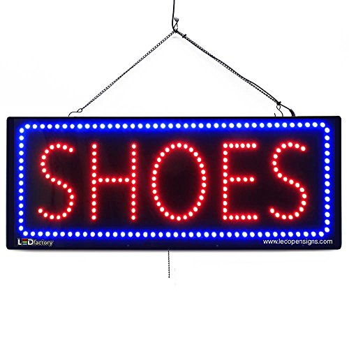 (Large LED Window Business Sign - Shoes - Extra Bright LEDs - Can Be Seen Through Tinted Windows - Extra Large - 32 inches Wide (#2634))