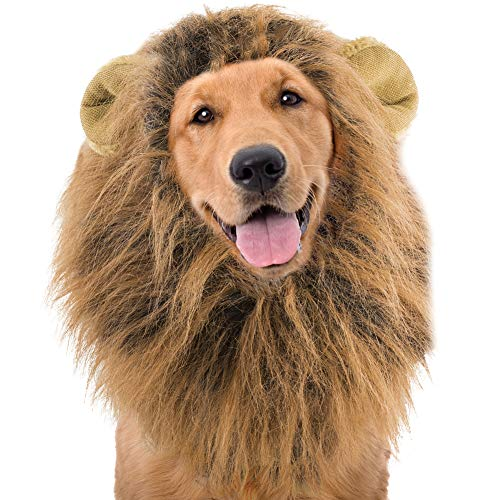 MAX SALES GROUP Lion Mane Wig for Dogs Halloween Costume - 100% Polyester Fits MD / LG -