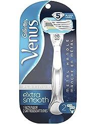 Gillette Venus Platinum Extra Smooth Metal Handle Women's Razor & 2 Refills