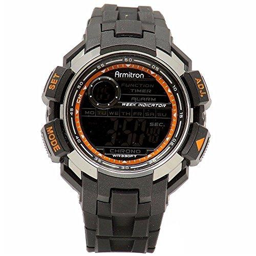 Armitron Sport Men's 40/8258GRY Chronograph Black Resin Chrome Accented Digital Watch