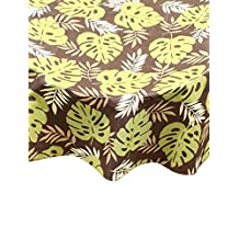 Ritz 67508 PEVA Brown Palm Print Table Cloth Round, 70-Inch