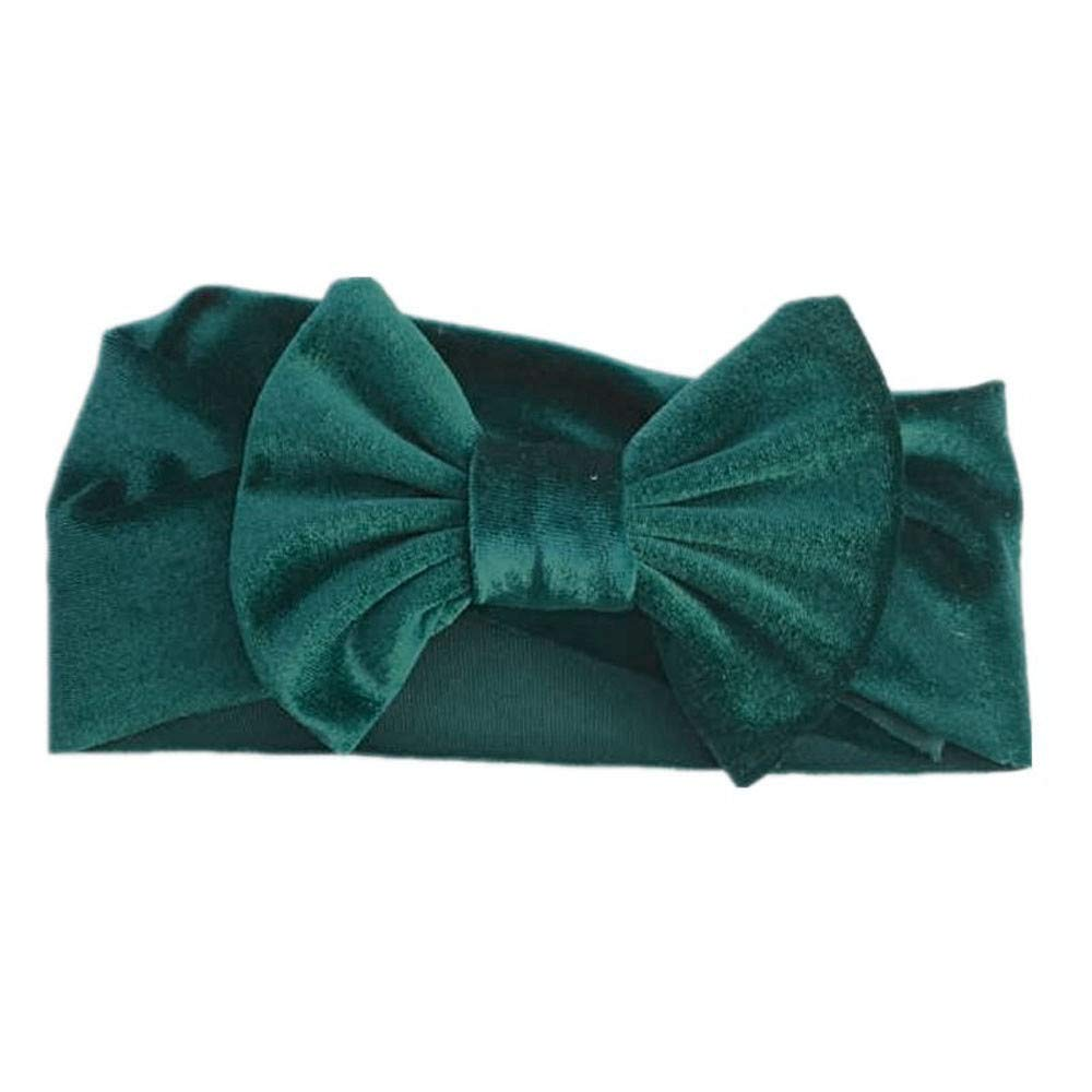 NUWFOR 1Pc Cute Baby Toddler Infant Bowknot Headband Stretch Hairband Headwear Green