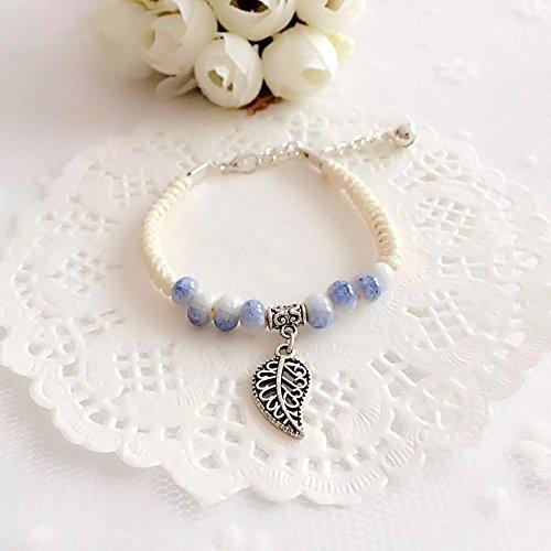 Mud bisque Arts / Jingdezhen Ceramic ice crack the glaze woven bracelet handmade jewelry national wind bells