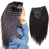 Sassina Unprocessed Virgin Human Hair Clip in Extensions Natural Color Double Wefts 120Grams Kinky Straight Clip on Hair For African American Black Women, KS 12 Inch