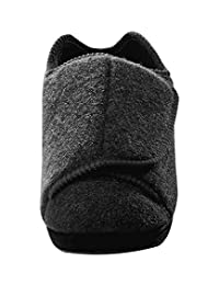 Mens Extra Extra Wide Slippers - Swollen Feet - Diabetic - Black 10
