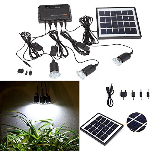 Outdoor Solar Power Panel LED Light Lamp Charger Home System Kit Garden Path US (How Much Does A Table Lamp Cost)