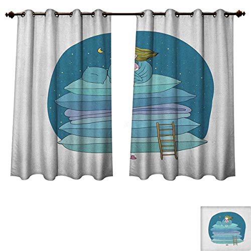 Kids Blackout Thermal Curtain Panel Little Girl Sitting on The Top of a Pile of Pillows Drinking Milk Night Bedtime Patterned Drape for Glass Door Blue Pink Yellow Size W52 xL63