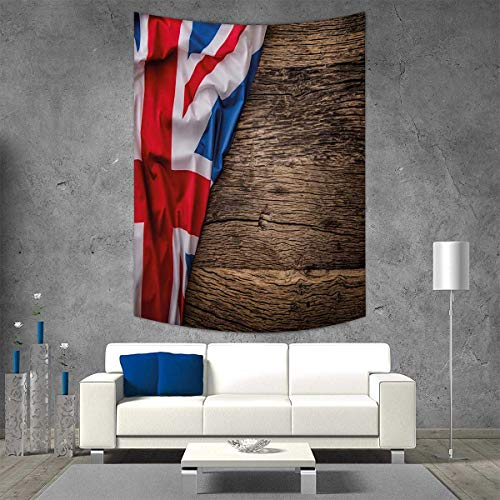 smallbeefly Union Jack Customed Widened Tapestry Flag United Kingdom on Old Oak Wooden Board English Nation Country Britain Wall Hanging Tapestry 70W x 84L INCH Multicolor