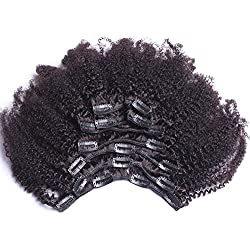 8inch 4b,4c Afro Kinky Curly Clip In Human Hair Extension Virgin Mongolian Human Hair Clip In Hair For Black Women 7pcs/set 120gram/set(net weight 100gram)