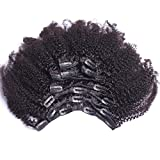 (US) 8inch 4b,4c Afro Kinky Curly Clip In Human Hair Extension Virgin Mongolian Human Hair Clip In Hair For Black Women 7pcs/set 120gram/set(net weight 100gram)
