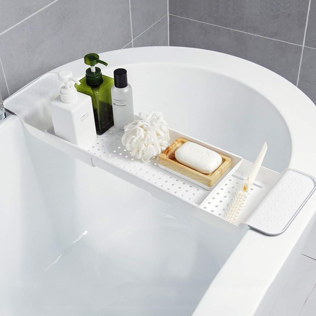 Hellgrau MM456 Badewannenablage Kunststoff Badewannenbr/ücke Rack ablassen Versenkbarer Badewannenschale Seifenhalter Badewannentablett Multifunktional Besteckablage