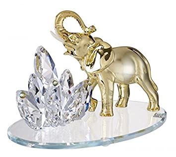 Delightful Made In Italy Crystal Large Elephant 18k Plated W/ Swarovski Figurine  9u0026quot;