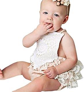 baskuwish Newborn Baby Girl Infant Romper Lace Halter Backless Romper Jumpsuit Bodysuit Sunsuit Outfits Set 0-24M