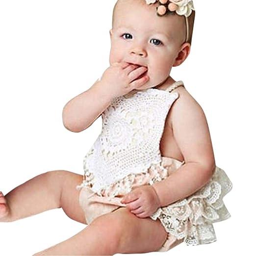 167193926606 Infant Baby Girl Clothes Jumpsuit Lace Halter Newborn Backless Romper  Bodysuit Sunsuit Outfits Set (3
