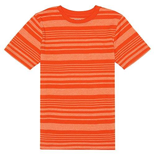French Toast Boys' Big Short Sleeve Stripe Crew Neck Tee Shirt, High Heat, L (10/12) (Shirt Stripe Orange)